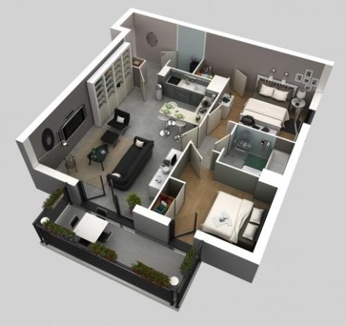 Contoh denah interior rumah minimalis dengan sekat minimal di area publik dan semi publik
