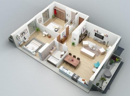 Contoh denah rumah minimalis 3 kamar tidur 3 dimensi