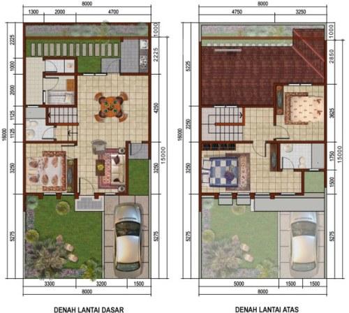 Contoh denah rumah minimalis type 45 2 lantai