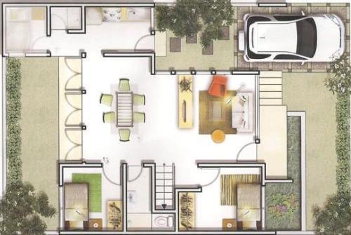 Contoh denah rumah minimalis type 60 3 Dimensi