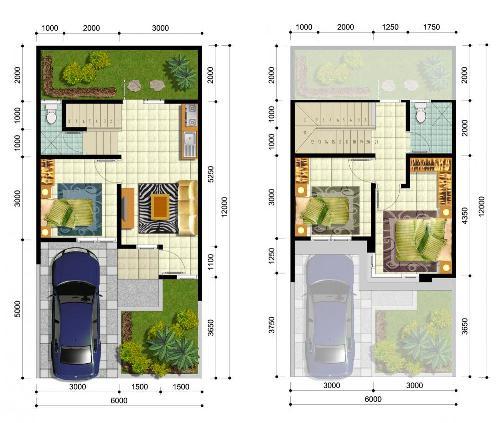 Contoh pembagian ruang di rumah minimalis type 36 dua lantai