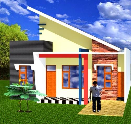 Contoh rumah minimalis sederhana dengan atap sandar