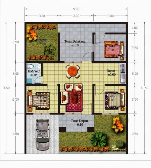 Denah Rumah Minimalis 1 Lantai dengan 3 Kamar Tidur Plus Carport