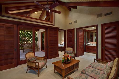 Dominasi material kayu menghadirkan nuansa tropis di rumah minimalis