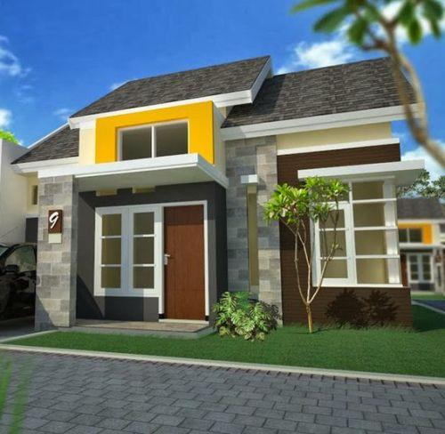 Salah satu bagian fasad rumah dapat diberi warna terang sebagai penarik perhatian