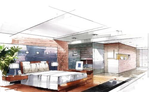 Contoh sketsa interior rumah minimalis