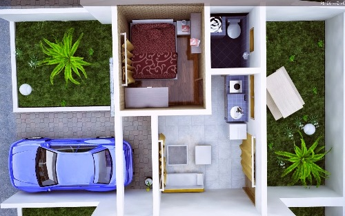 Contoh sketsa pengaturan ruang di rumah minimalis type 36