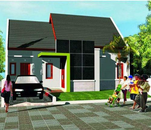 Eksterior rumah minimalis dengan aplikasi merah dan hijau