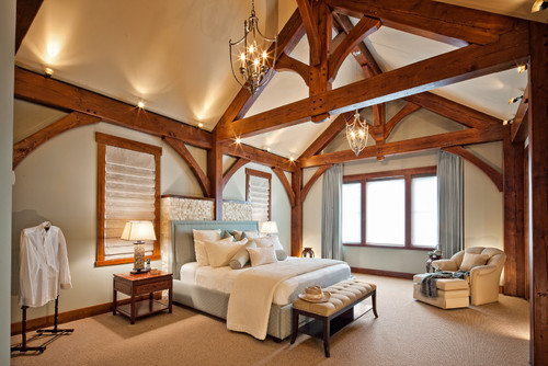 Gambar interior kamar tidur utama bernuansa eklektik