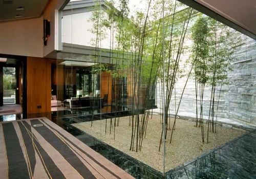 Taman terbuka minimalis di dalam rumah