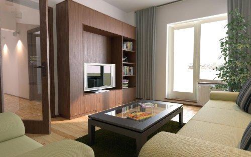 Aplikasi warna netral di ruang keluarga minimalis