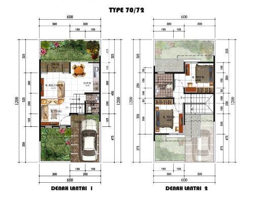 Contoh denah dan pembagian ruang rumah type 70 2 lantai