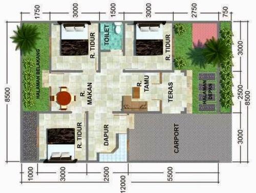 Contoh denah rumah minimalis type 54