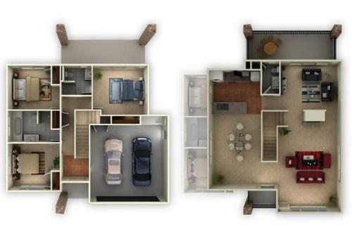 Contoh denah rumah minimalis type 60 2 lantai