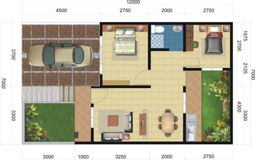 Contoh denah rumah minimalis type 60 dengan 1 lantai