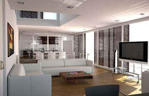 Contoh desain interior rumah minimalis 2 lantai tanpa sekat permanen
