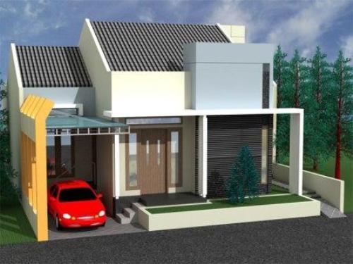Contoh eksterior rumah minimalis 1 lantai dengan taman kecil