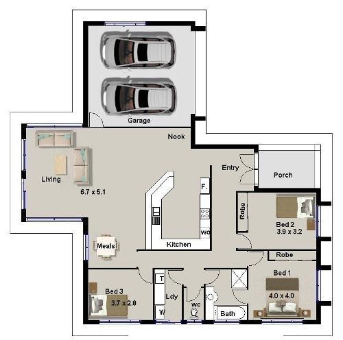 Denah rumah 3 kamar tidur dengan garasi dan ruang keluarga lebar