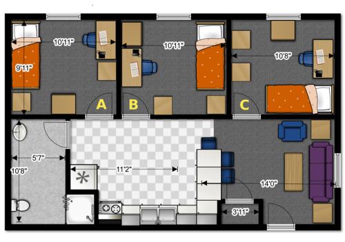 Denah rumah sederhana 3 kamar tidur sejajar