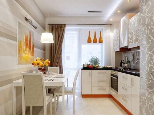 Desain interior dapur menyatu dengan ruang makan