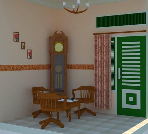 Desain ruang tamu ala Jawa dengan furniture kayu