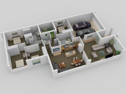 Gambar Rumah Sederhana 1 Lantai dengan 3 Kamar Tidur