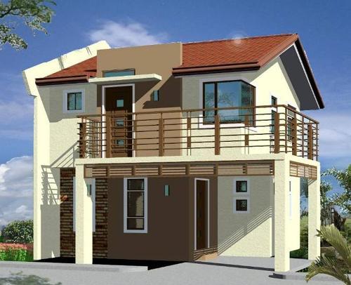 Gambar rumah minimalis 2 lantai dengan balkon berpagar keliling