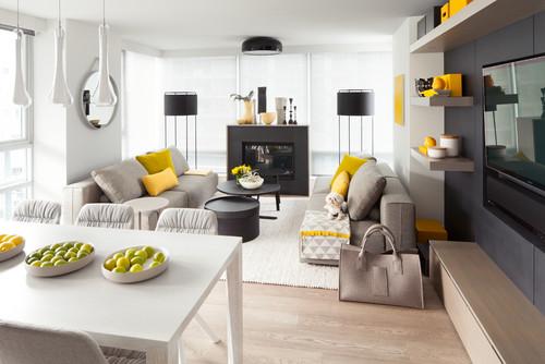 Ruang tamu kontemporer dengan paduan warna gelap-terang