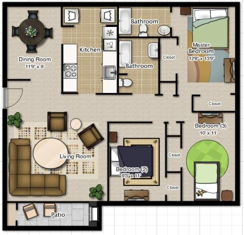 Rumah minimalis 3 kamar tidur dengan 2 kamar mandi