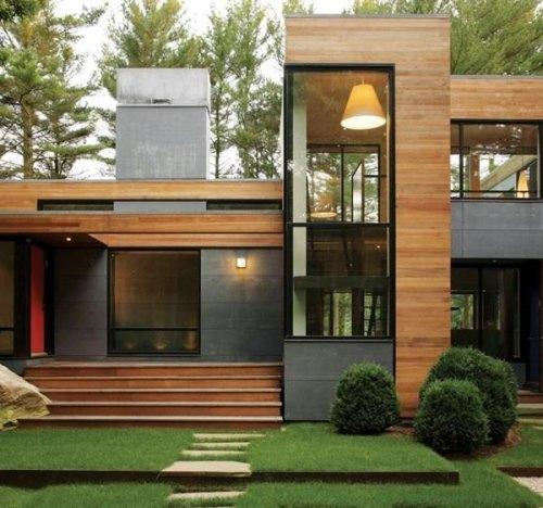 Rumah minimalis kayu dengan campuran beton