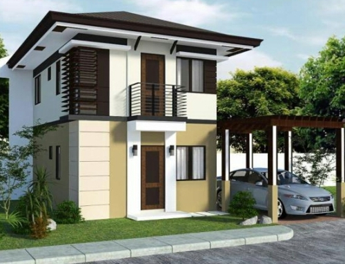Rumah minimalis modern didominasi warna natural