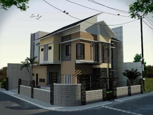 Rumah sudut minimalis dengan pagar batu alam