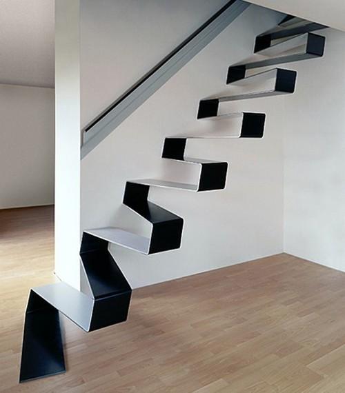 Tangga minimalis modern sekaligus sebagai dekorasi
