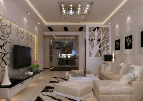dekorasi ruang tamu modern serba putih