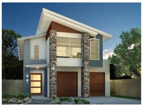 desain tampak depan rumah minimalis 2 lantai dengan atap semi-segitiga