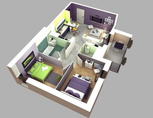 Contoh Denah Rumah Minimalis Type 36 3-dimensi