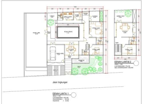 Contoh denah rumah 2 lantai dengan kolam renang