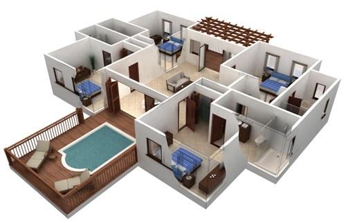 Contoh denah rumah mewah 1 lantai 4 kamar tidur