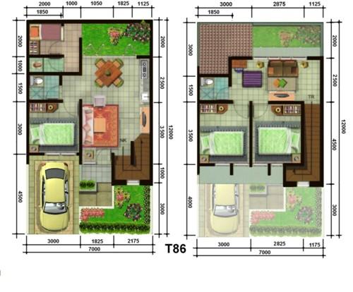 Contoh denah rumah mewah 2 lantai