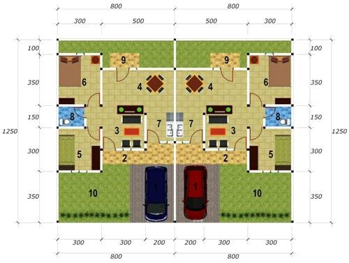 desain rumah type 45 kopel minimalis