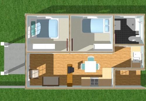 Contoh floor plan rumah type 36 dengan 2 kamar tidur