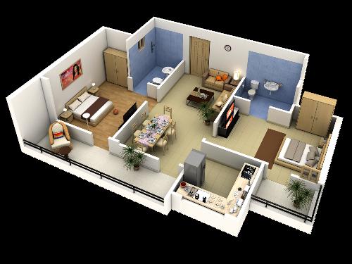 Contoh pembagian ruang pada interior rumah type 36