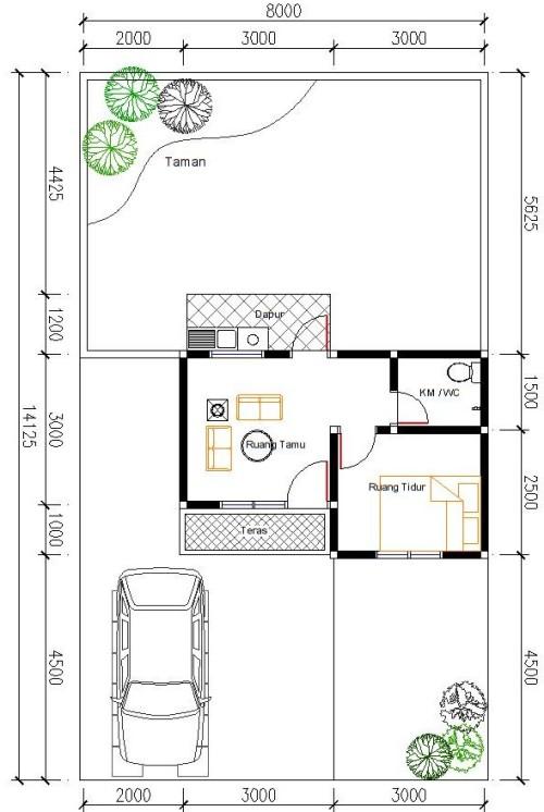 Contoh sketsa ruang rumah type 21