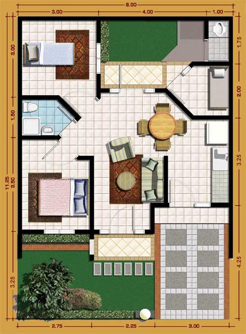 Contoh sketsa rumah type 70