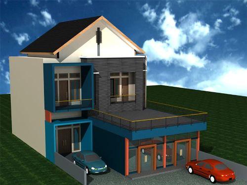 Fasad rumah minimalis campuran volumetrik dan segitiga