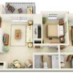 Denah Rumah Minimalis 1 Lantai dengan Empat Fungsi Ruang