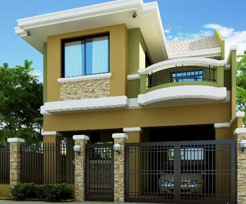 teras pagar rumah elemen batu alam desain rumah
