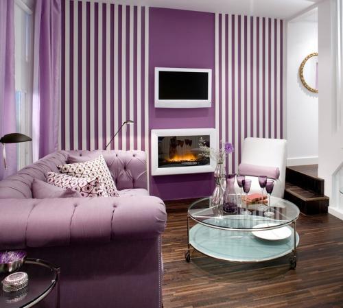 Interior Desain Rumah Sederhana 1 Lantai cantik dengan warna ungu