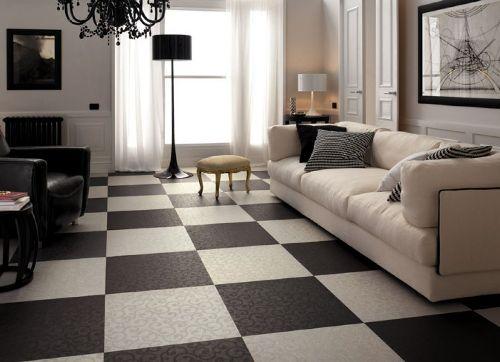 Interior ruang tamu minimalis htam-putih