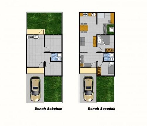 Perluasan denah rumah minimalis type 36